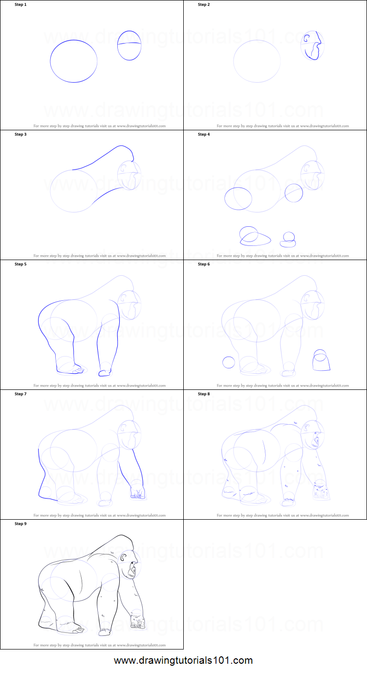 Uncategorized How To Draw A Gorilla Step By Step how to draw a gorilla printable step by drawing sheet drawingtutorials101 com