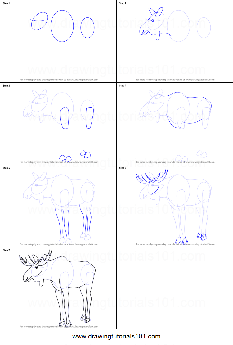 how to draw a moose printable step by step drawing sheet