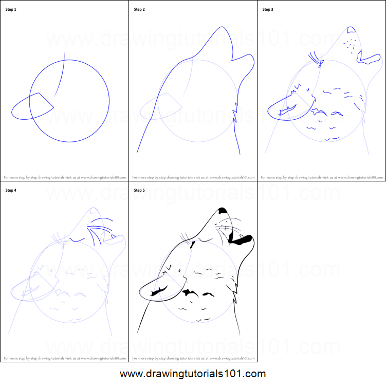 How To Draw A Wolf Howling Printable Step By Step Drawing Sheet