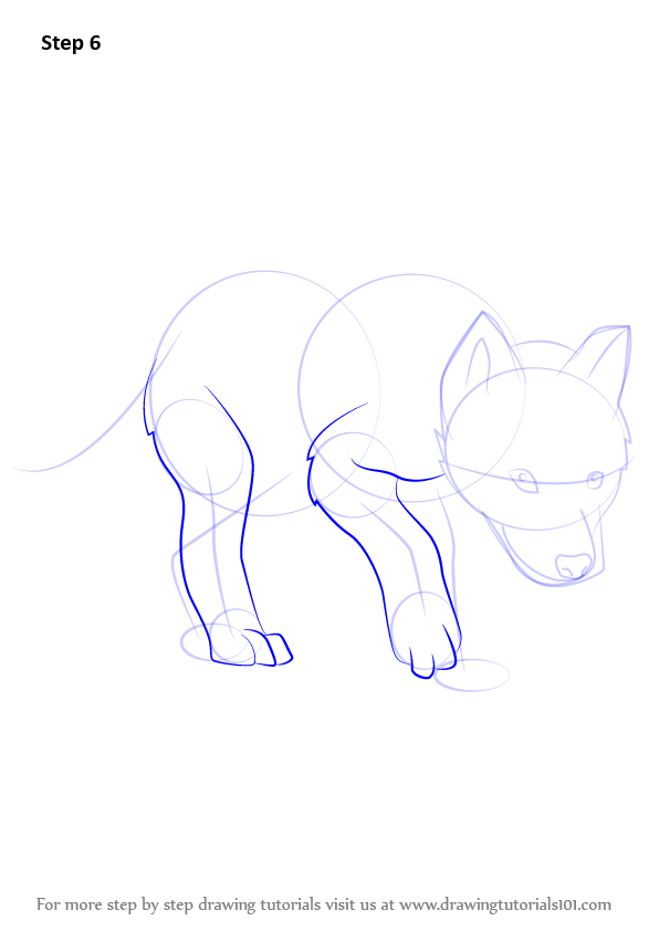 learn how to draw a wolf pup wild animals step by step