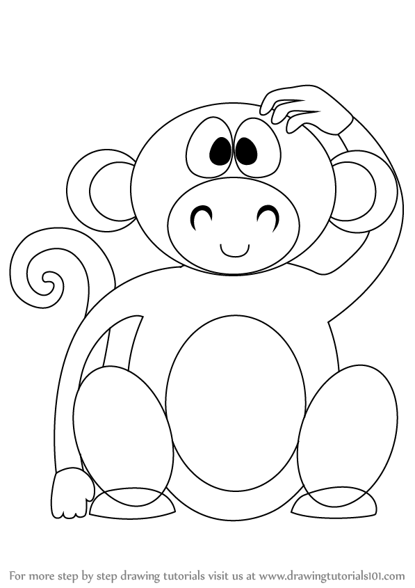 Learn How To Draw A Cute Monkey Cartoon Zoo Animals Step By Step
