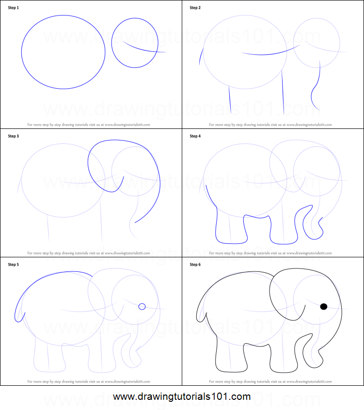 How to draw an elephant for kids printable step by step drawing sheet drawingtutorials101 com