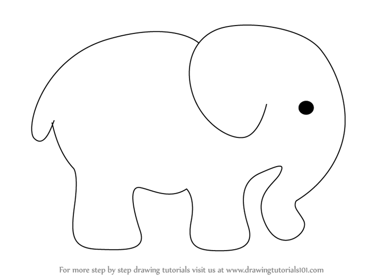 Elephant drawing step by step