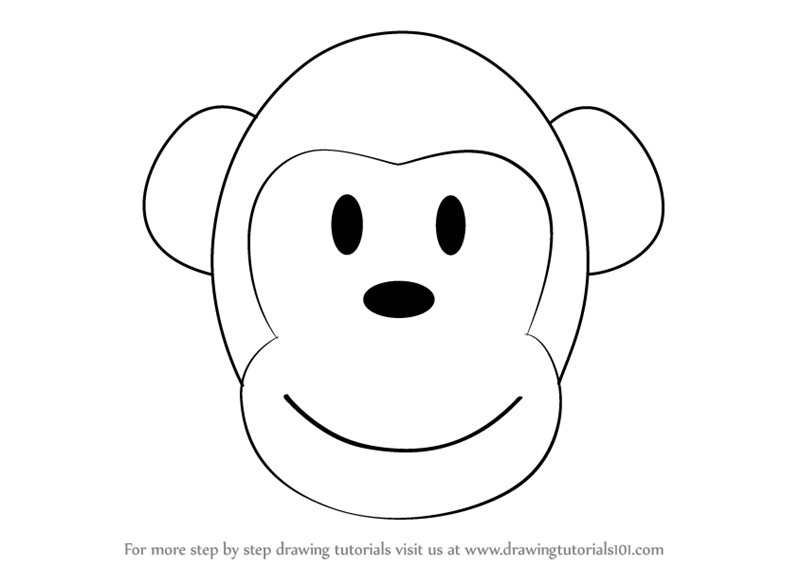 Learn How to Draw a Monkey Cartoon Face (Zoo Animals) Step ...