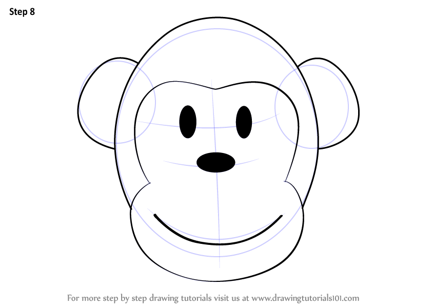 Learn how to draw a monkey cartoon face zoo animals step by step drawing tutorials