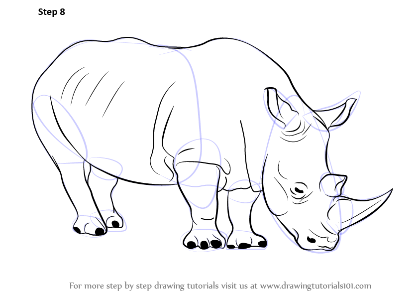 Rhinoceros drawing for kids - photo#2