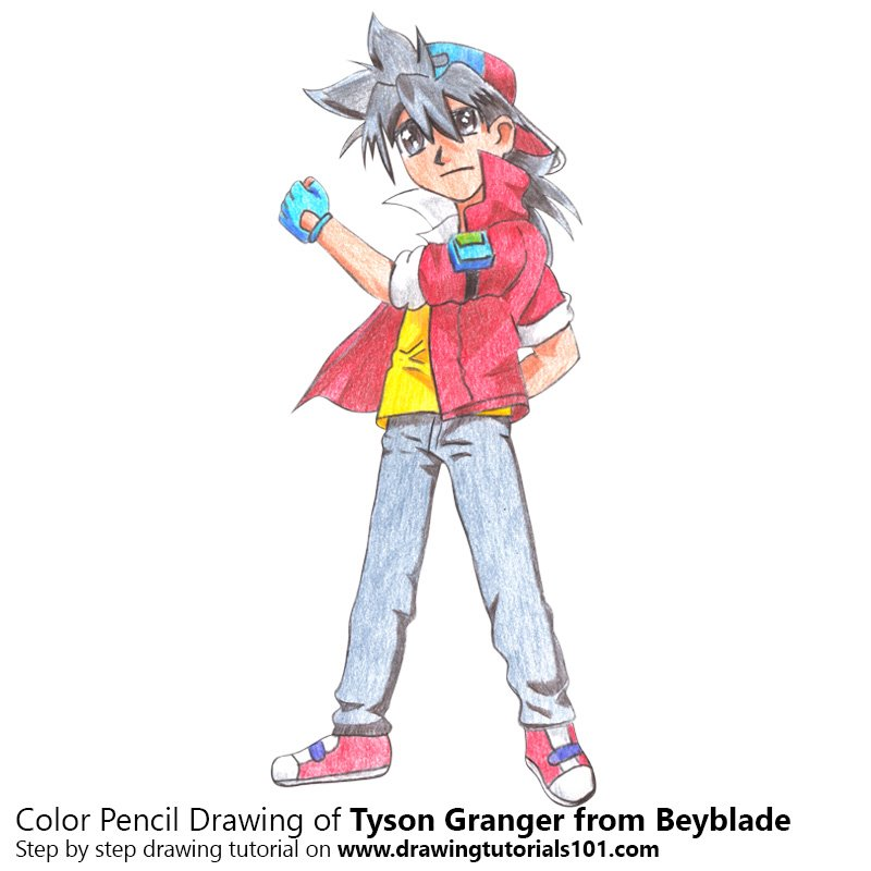 tyson granger from beyblade colored pencils drawing tyson granger