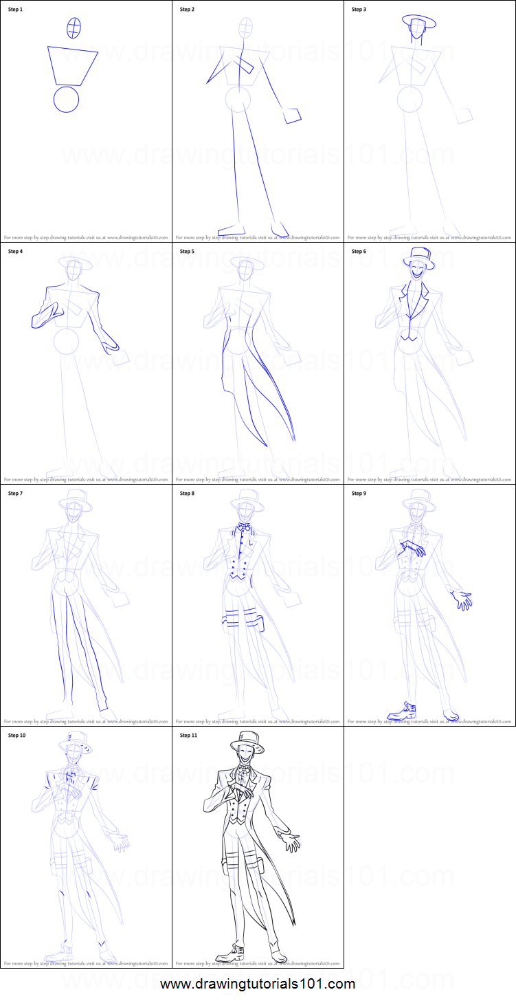 How to Draw Kagetane Hiruko from Black Bullet printable step