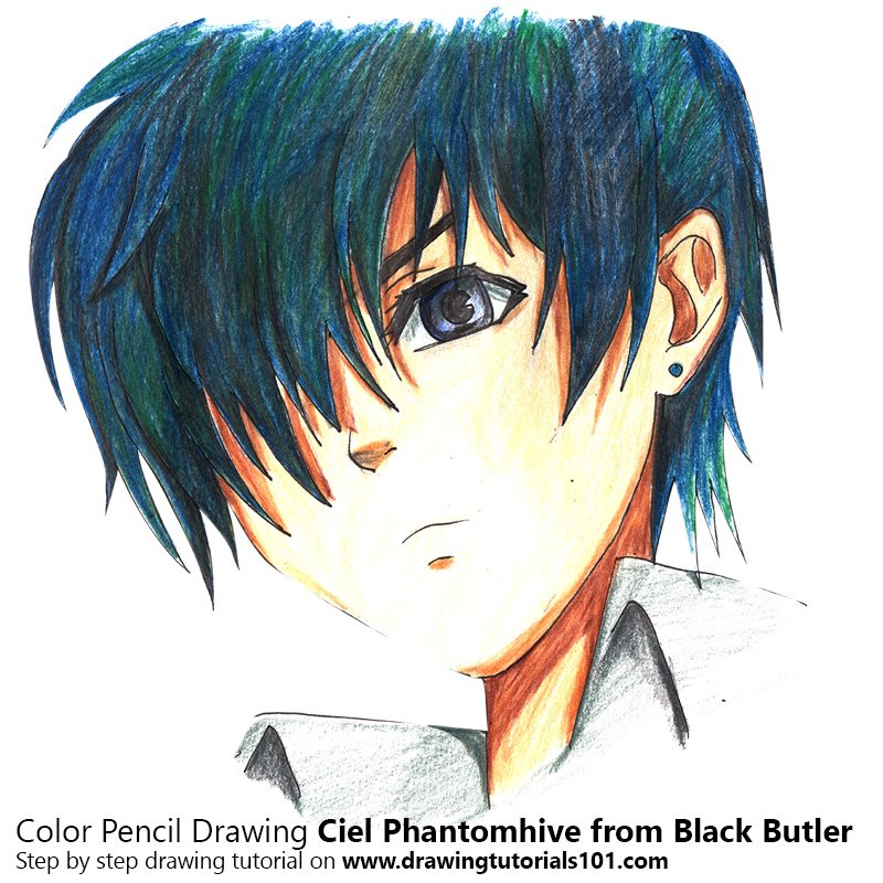 Ciel Phantomhive from Black Butler Color Pencil Drawing