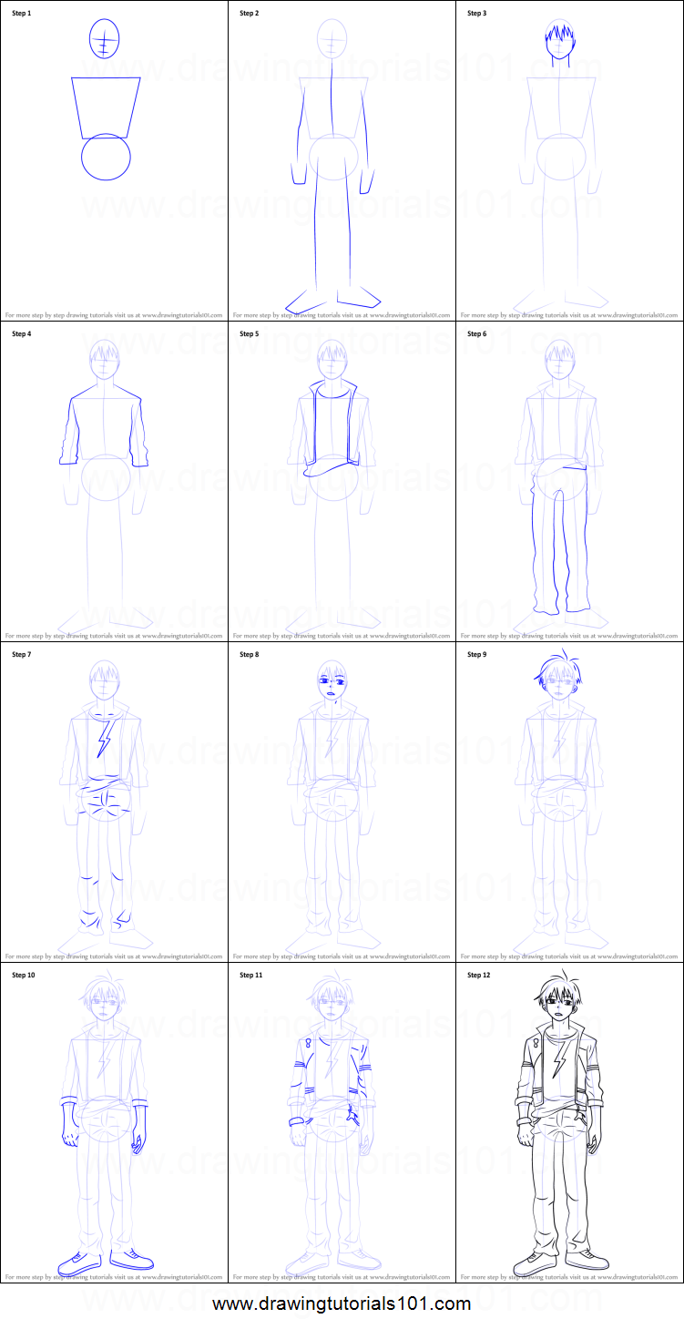How To Draw Staz Charlie Blood From Blood Lad Printable Step By Step Drawing  Sheet : DrawingTutorials101.com