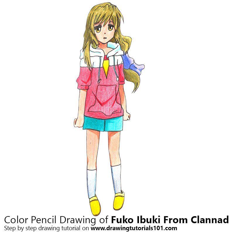 Fuko Ibuki from Clannad Color Pencil Drawing