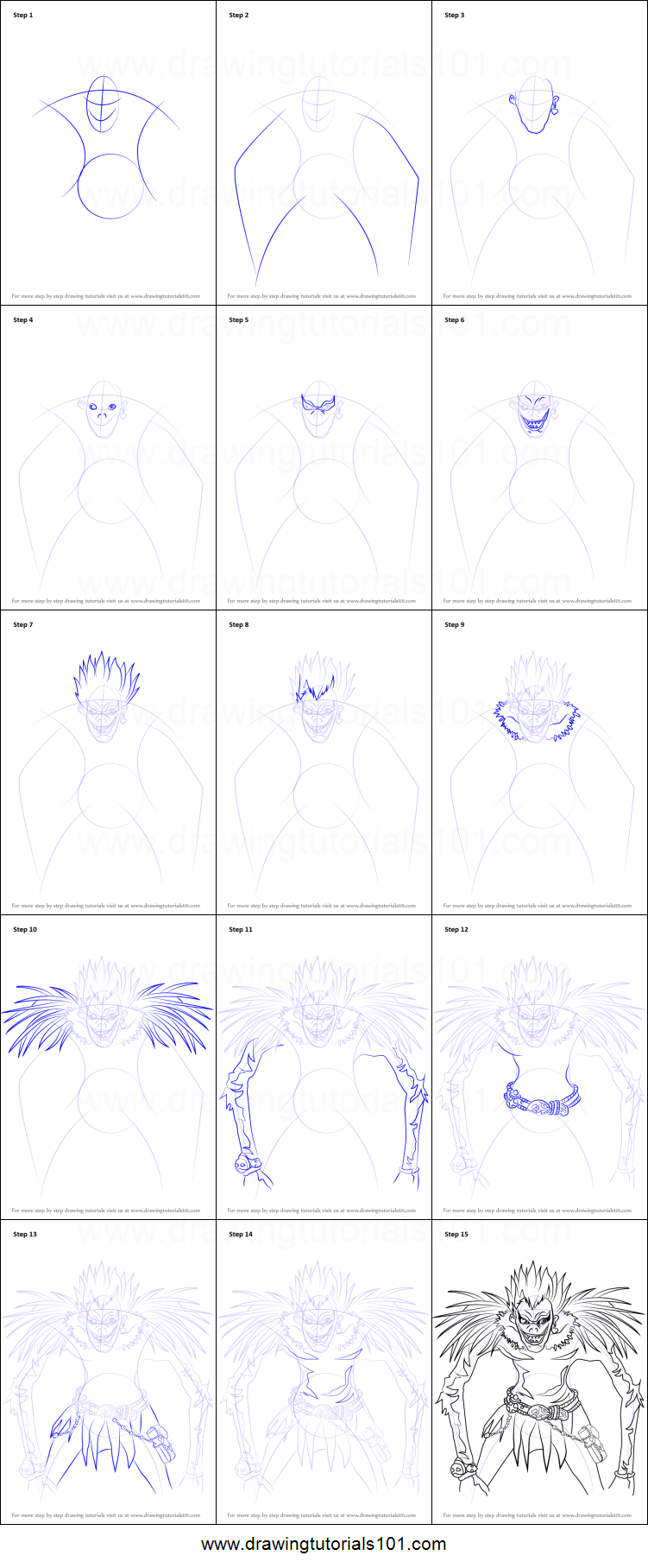 How To Draw Ryuk From Death Note Printable Step By Step