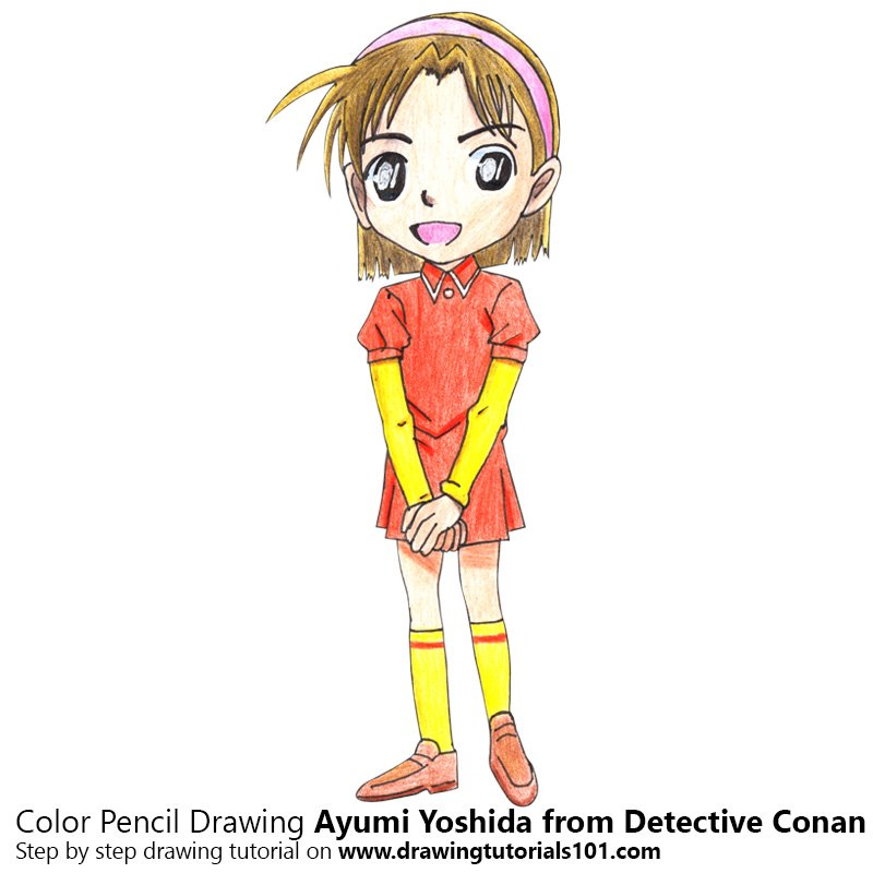 Ayumi Yoshida from Detective Conan Color Pencil Drawing