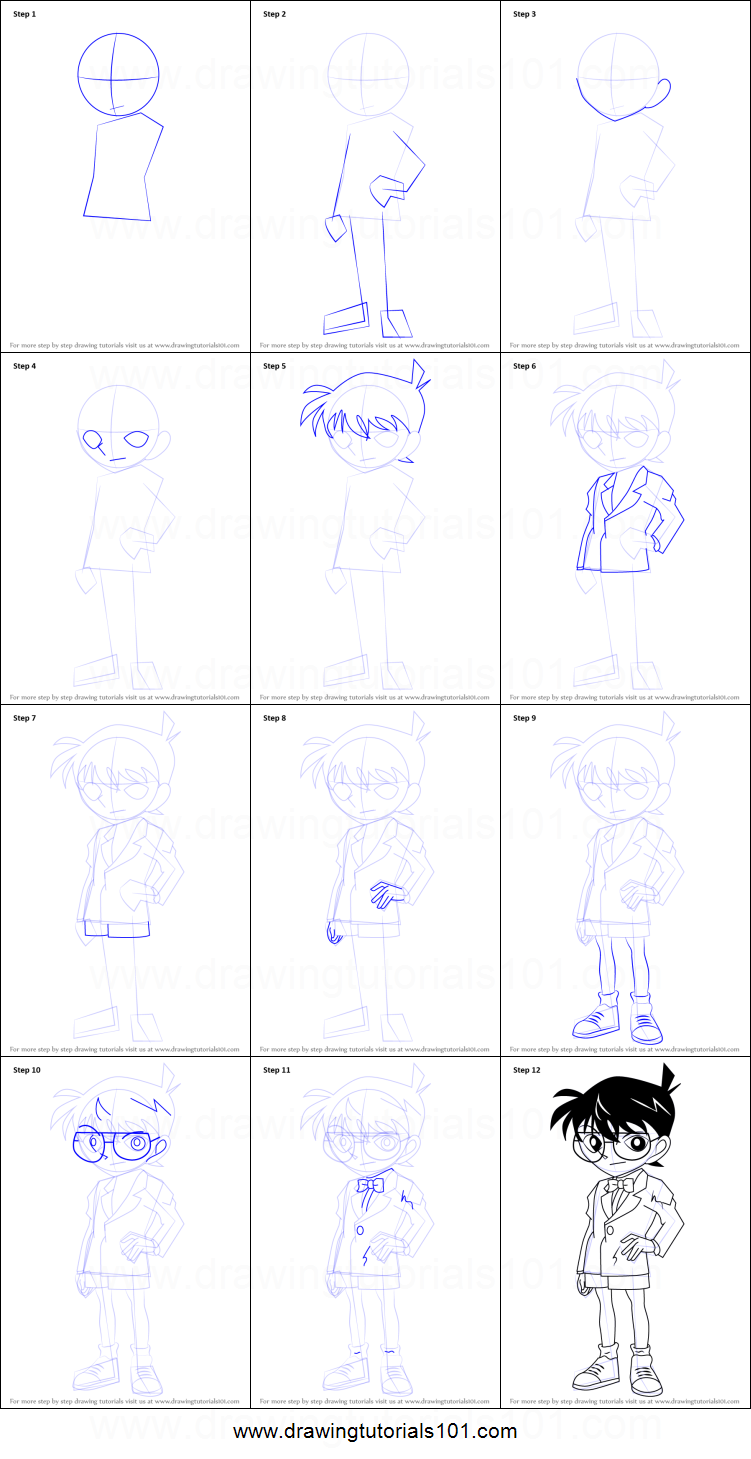 How to Draw Conan Edogawa from Detective Conan printable step by