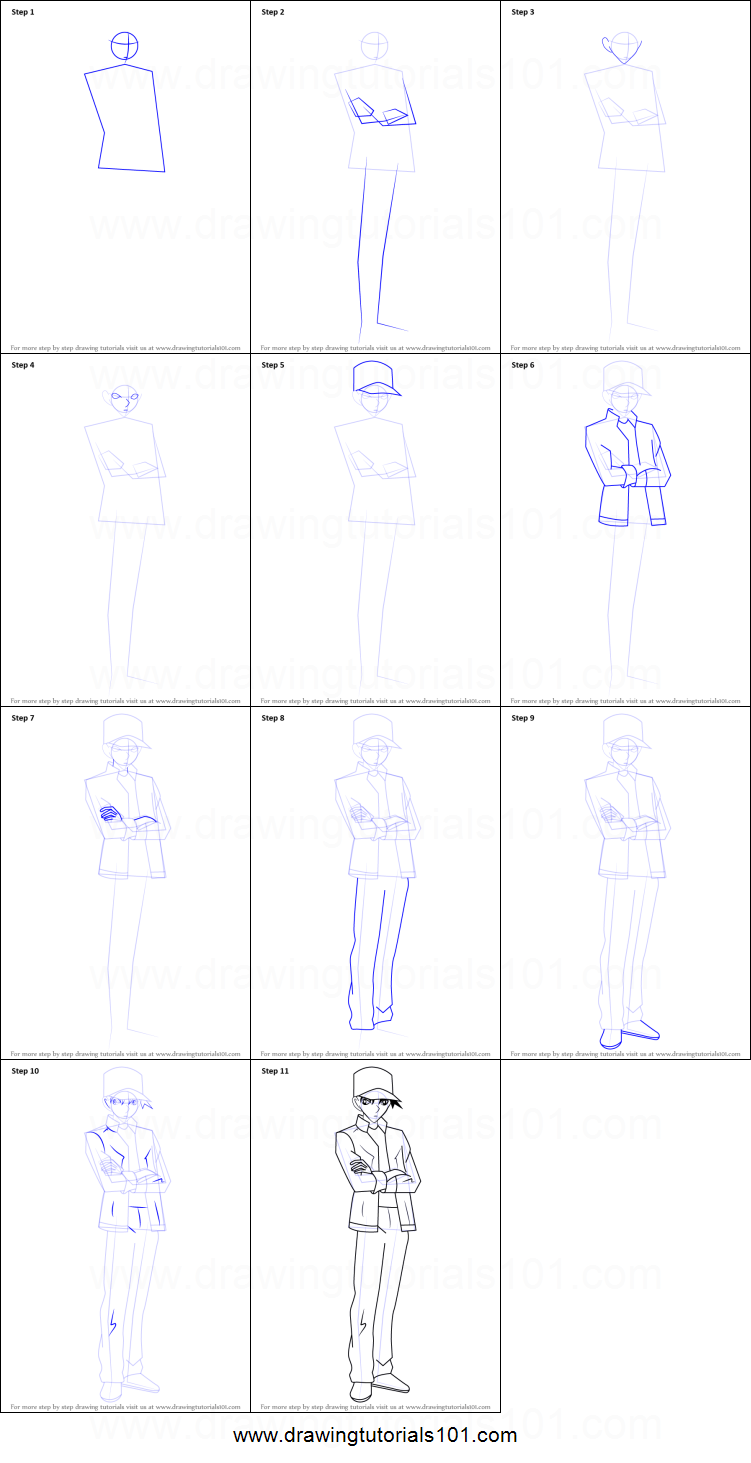 Uncategorized How To Draw A Ninja Step By Step how to draw heiji hattori from detective conan printable step by drawing sheet drawingtutorials101 com