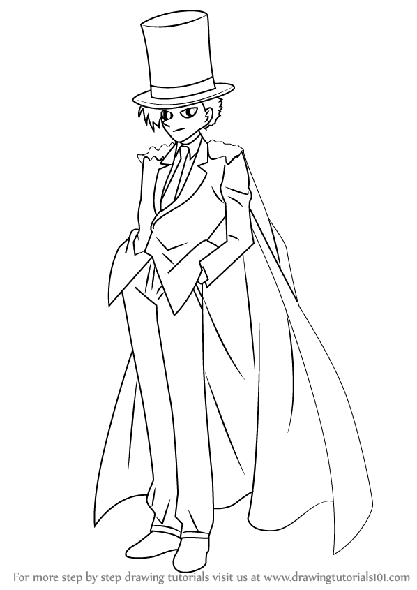 ... Step Drawing tutorial on How to Draw Kaitou Kid from Detective Conan