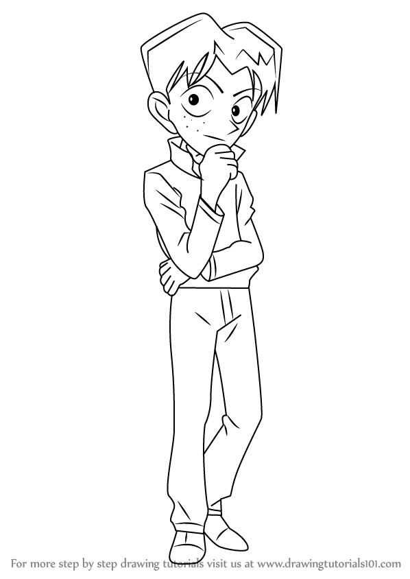 Learn how to draw mitsuhiko tsuburaya from detective conan for Detective conan coloring pages