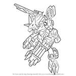 How to Draw MetalGarurumon X-Antibody from Digimon