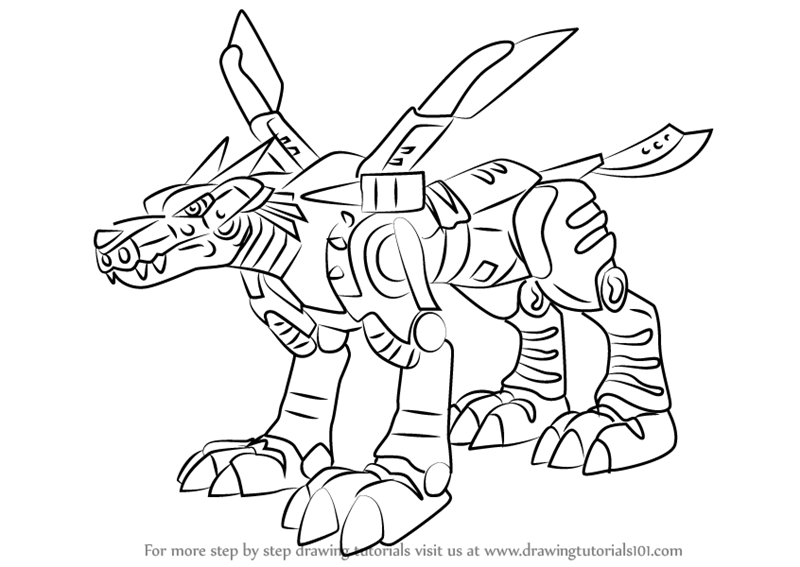 digimon weregarurumon coloring pages | Learn How to Draw MetalGarurumon from Digimon (Digimon ...
