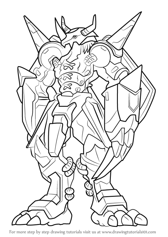 Learn How to Draw WarGreymon from Digimon Digimon Step
