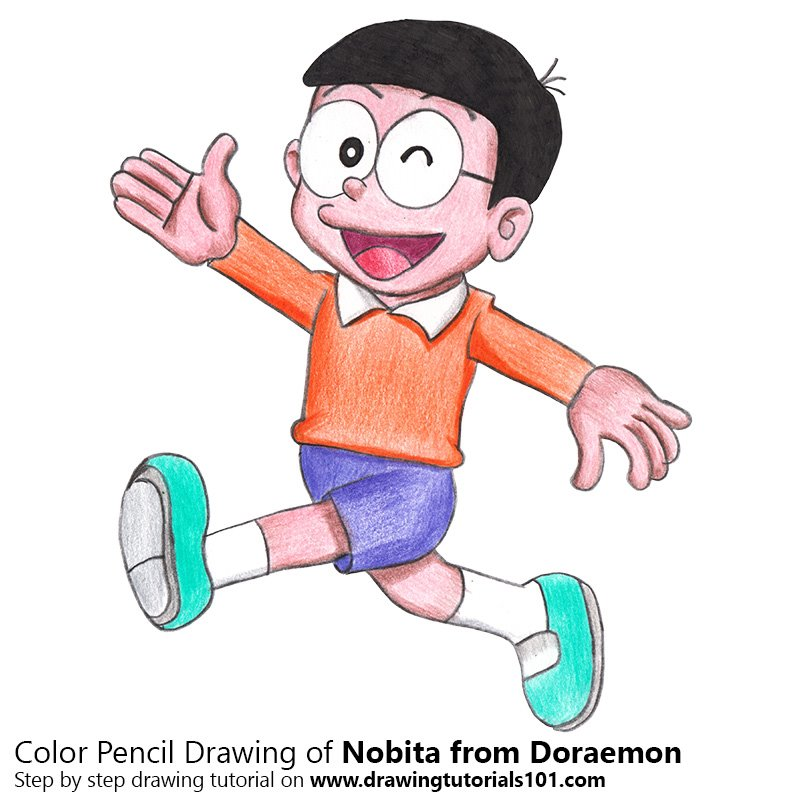 Nobita From Doraemon Colored Pencils