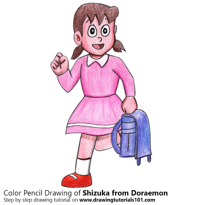 Shizuka from Doraemon Color Pencil Drawing