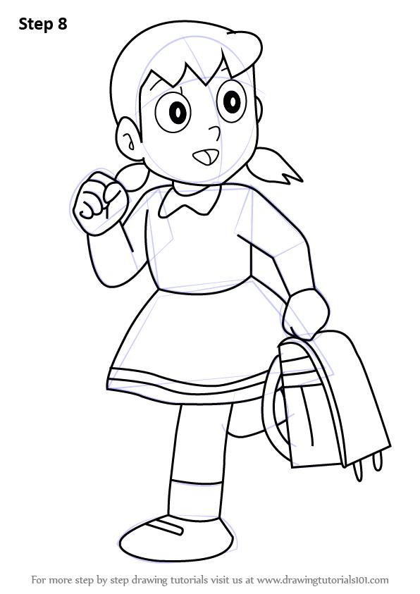 Learn How To Draw Shizuka From Doraemon Doraemon Step By