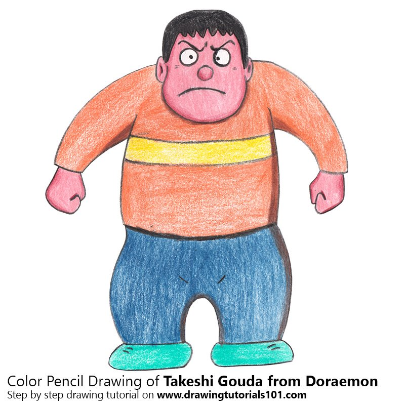 Takeshi Gouda from Doraemon Color Pencil Drawing