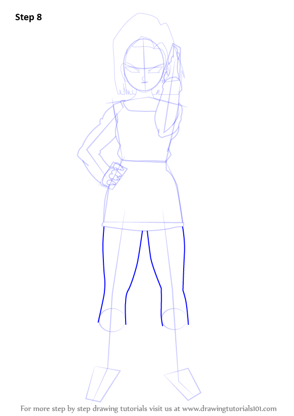 Step By Step How To Draw Android 18 From Dragon Ball Z