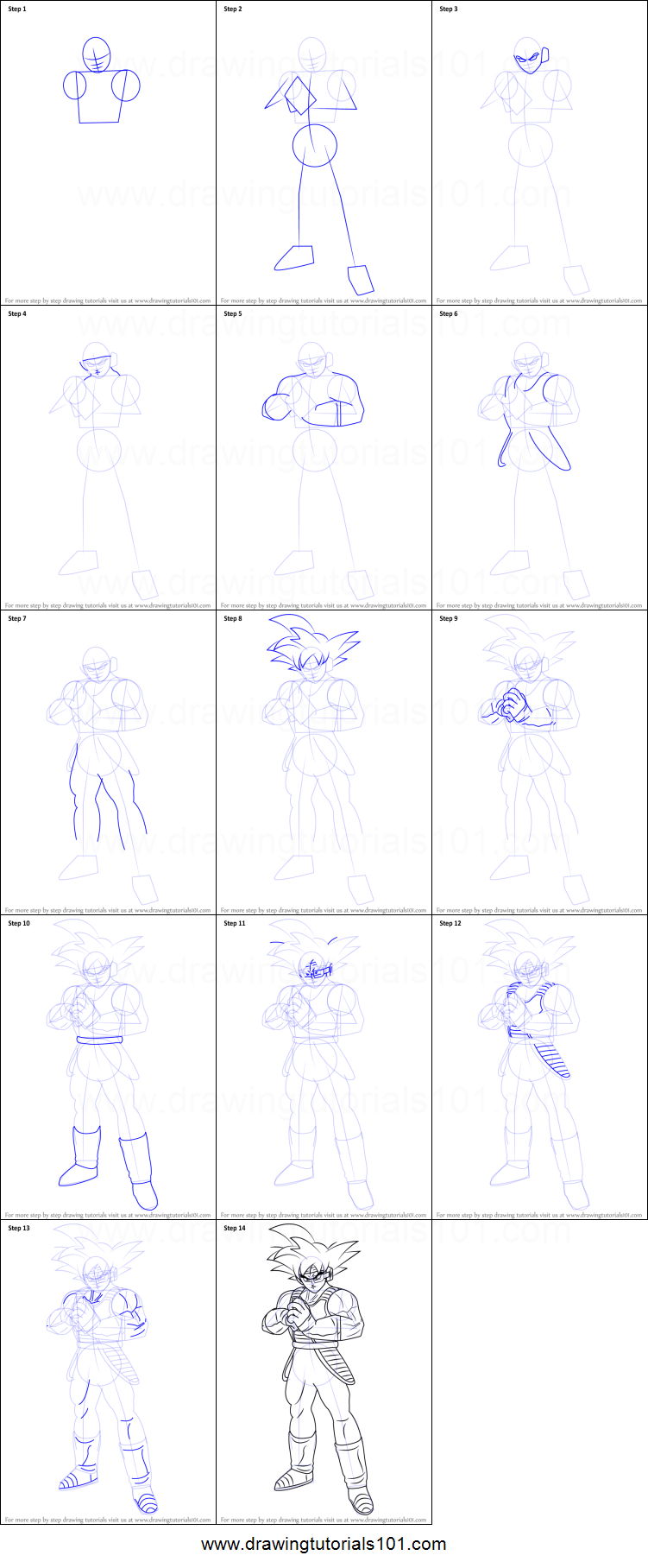 How To Draw Bardock Full Body From Dragon Ball Z Printable Step By Step Drawing Sheet Drawingtutorials101 Com