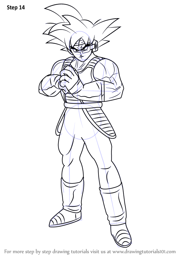 Step by Step How to Draw Bardock Full Body from Dragon