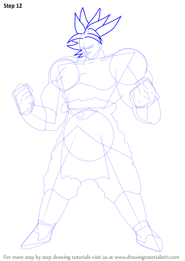 step by step how to draw broly from dragon ball z
