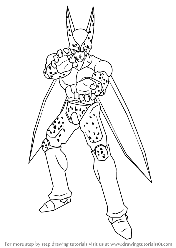 Learn how to draw cell from dragon ball z dragon ball z for Dragon ball z cell coloring pages