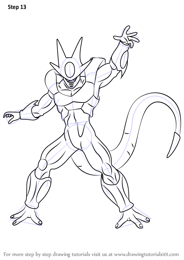 Step By Step How To Draw Cooler From Dragon Ball Z