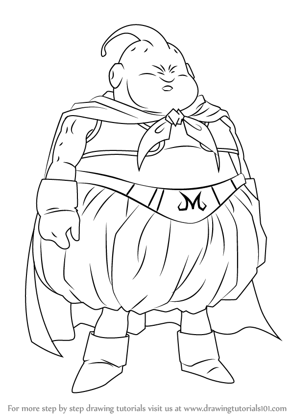 Learn How To Draw Fat Buu From Dragon Ball Z Dragon Ball Z Step By Step Drawing Tutorials