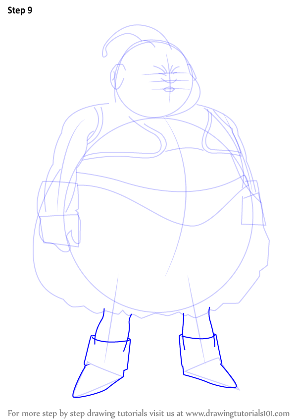 Step By Step How To Draw Fat Buu From Dragon Ball Z