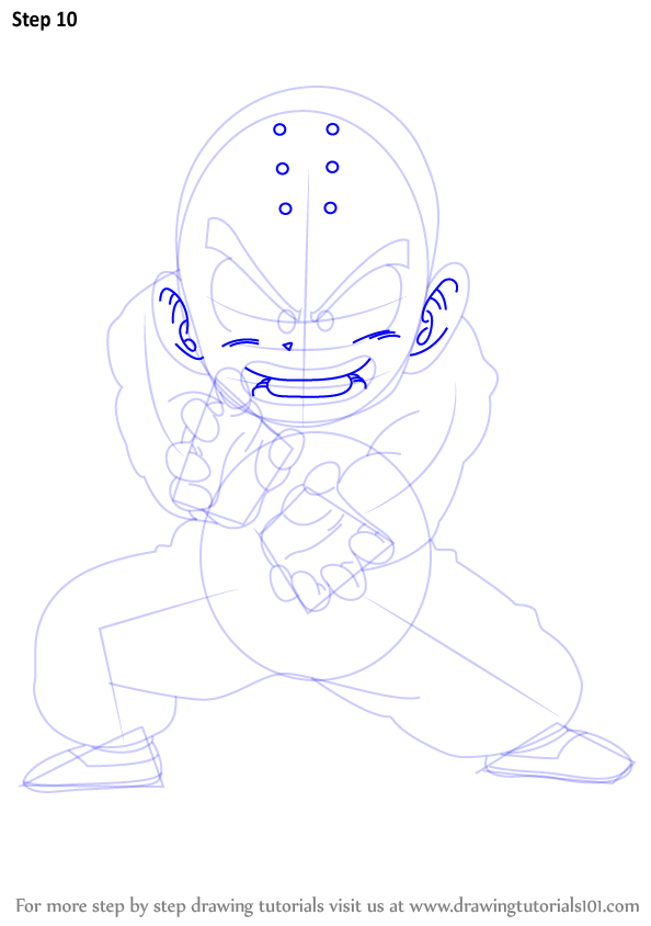 Step By Step How To Draw Krillin From Dragon Ball Z