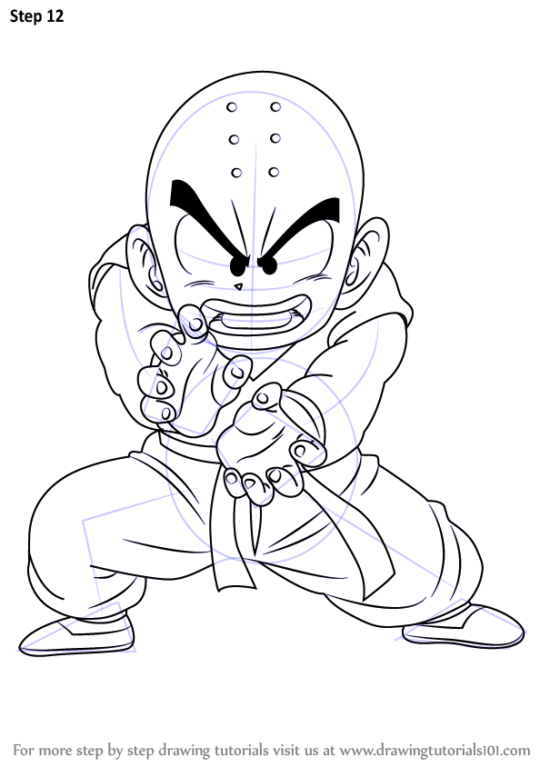 Learn How To Draw Krillin From Dragon Ball Z (Dragon Ball Z) Step By Step  Drawing Tutorials