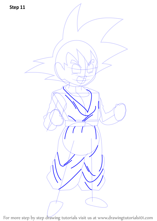 Step By Step How To Draw Son Goten From Dragon Ball Z