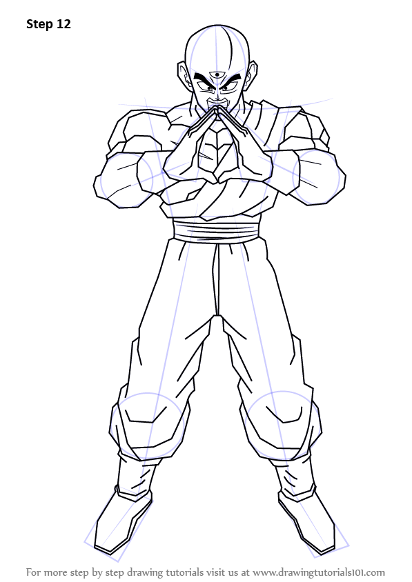 Step By Step How To Draw Tenshinhan From Dragon Ball Z