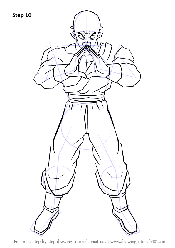 Step By Step How To Draw Tien From Dragon Ball Z