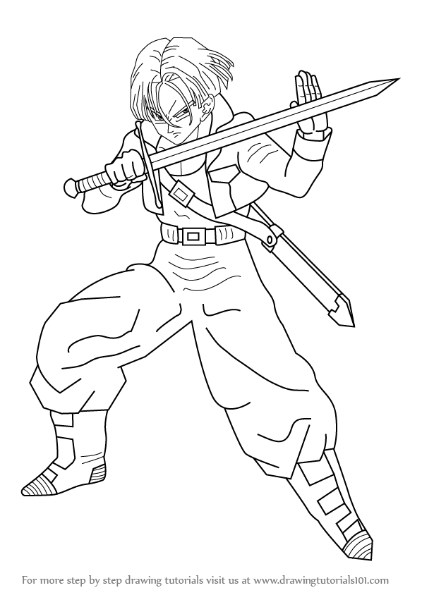 dragon ball z coloring pages trunks dbz | Learn How to Draw Trunks from Dragon Ball Z (Dragon Ball Z ...