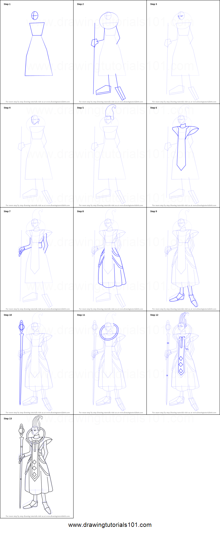 How to Draw Whis from Dragon Ball Z printable step by step ...