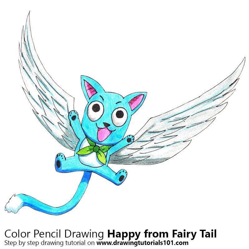 Happy from Fairy Tail Color Pencil Drawing