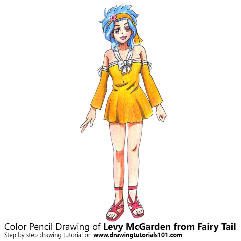 Levy McGarden from Fairy Tail Color Pencil Drawing