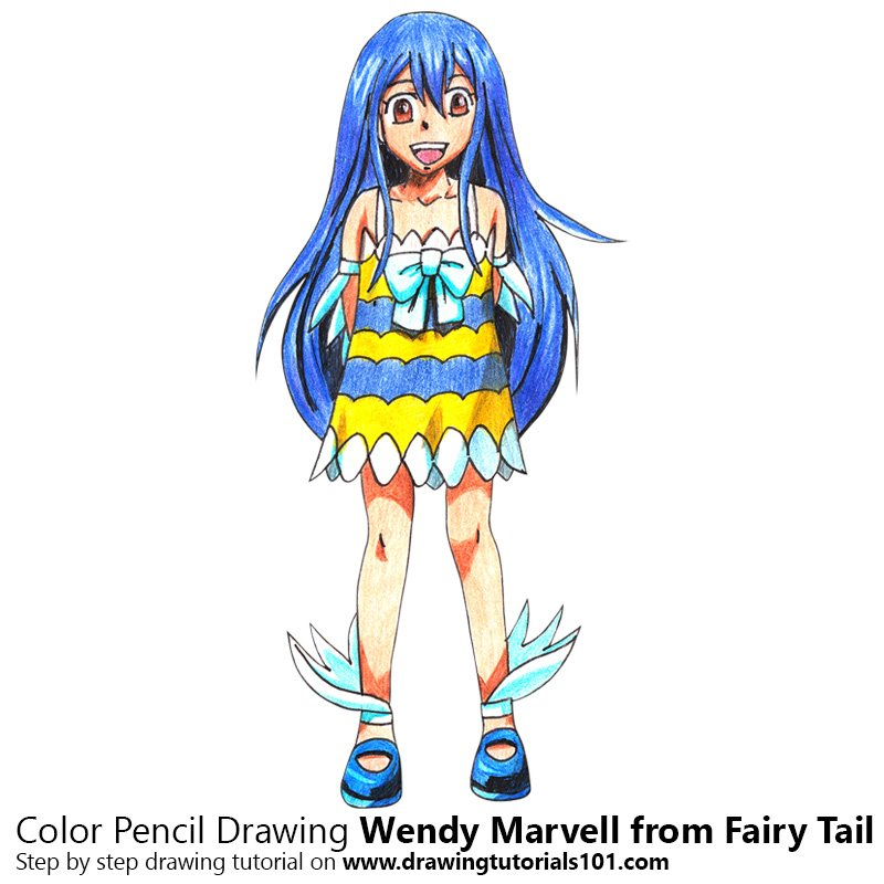 Wendy Marvell from Fairy Tail Color Pencil Drawing