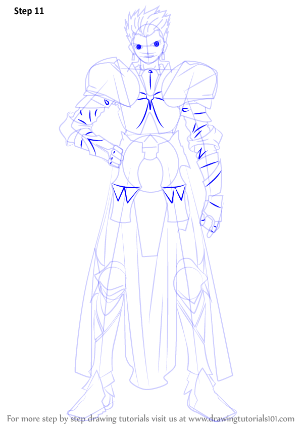 Step By Step How To Draw Gilgamesh From Fate Zero