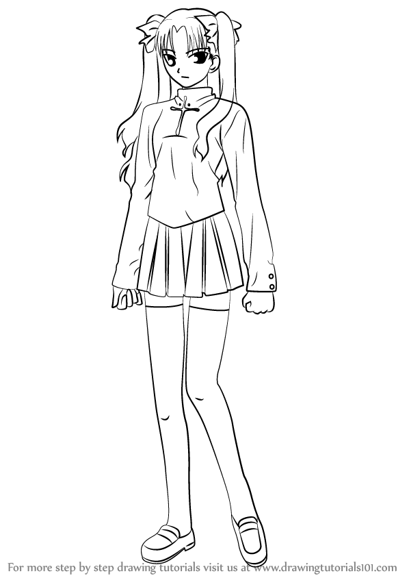 learn how to draw rin tohsaka from fate