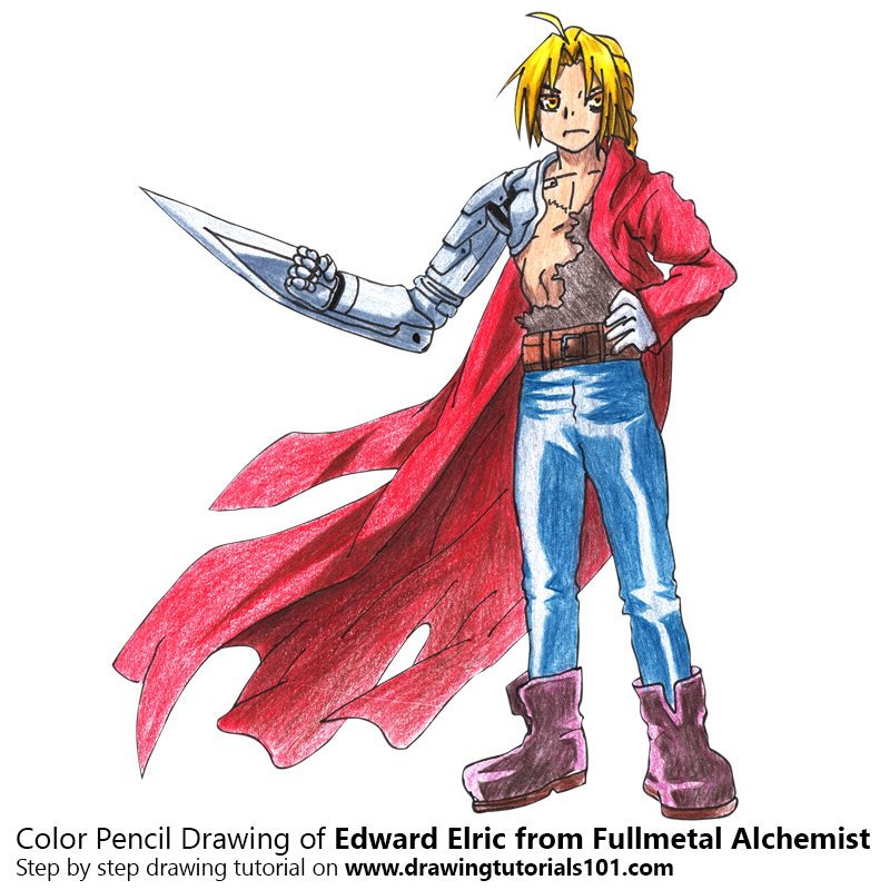 Edward Elric from Fullmetal Alchemist Color Pencil Drawing