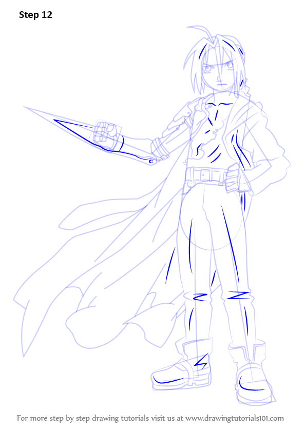 learn how to draw edward elric from fullmetal alchemist  fullmetal alchemist  step by step